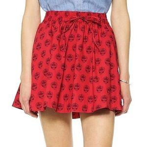 Madewell Red Paisley Floral Turntable Mini Skirt